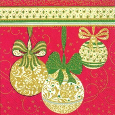 Pack of 20 Traditional Christmas Tree Bauble Design Xmas Paper Napkins 3 Ply