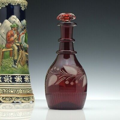 Antique 19th Century Engraved Ruby Glass Port Decanter c1840