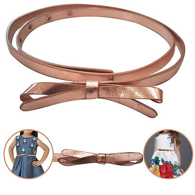 Kids Girl Butterfly Bowknot Buckle Skinny Thin Faux Leather Waist Belt