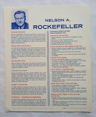 Nelson A Rockefeller Political Presidential Election Campaign Platform Flyers