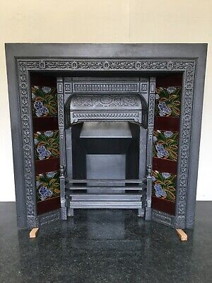 Original Restored Antique Cast Iron Victorian Tiled Insert Fireplace (TA429)