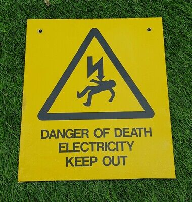 Danger Of Death Electricity Keep Out yellow reflective warning hazard sign 12x10