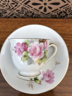 Handpainted Gold Made In Occupied Japan Tea Cup And Saucer- Rose Pattern