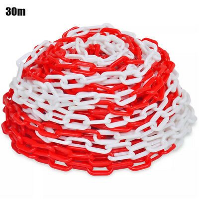 Traffic Safety Warning Chain Plastic Red/White 30 m Sign Car Warning Solemn UK
