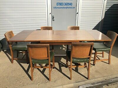 1950's Vintage 6 Seater Extending Walnut Dining Table and Chairs