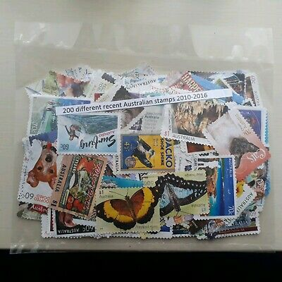 200 different recent Australian stamps 2010-2016. Postally used.