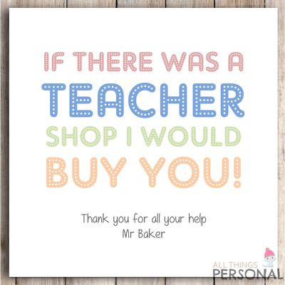 Personalised Thank You Teacher Card Teachers Gift Teaching Assistant School Card