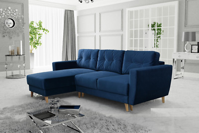 "ROYAL BLUE, NAVY CORNER SOFA BED ""RETRO"" WITH STORAGE, SPRUNG SEAT. L shape"