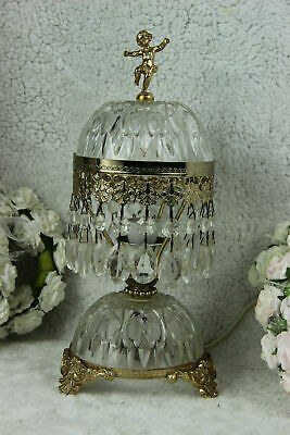 French vintage 1970 Glass brass putti figurine table lamp pendants drops
