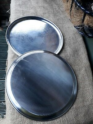"VINTAGE LRI BORROWDALE HAND CRAFTED pair Stainless Steel circular trays 14"" DIAM"