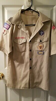 BOY SCOUTS Of America UNIFORM Shirt KHAKI Official BSA Scout Youth Large
