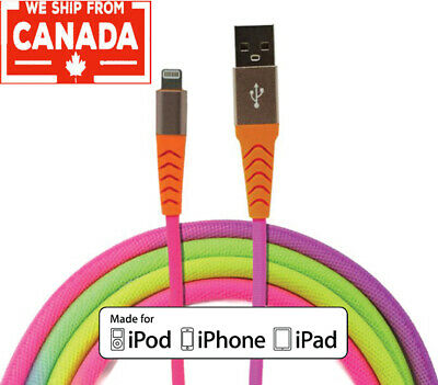 Apple MFI Colorful Lightning Cable 3 ft/ 1m iPhone Xs/ Xr/ X/ 8/ 7 iPad etc
