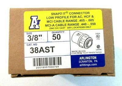 """Arlington Industries  38AST 3/8"""" Snap2it Connector BOX OF 50  -  0709 []"""