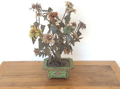 Antique Chinese Jade  Peony Tree Large  in Cloisonne Jardiniere  C 1890 49 cm H