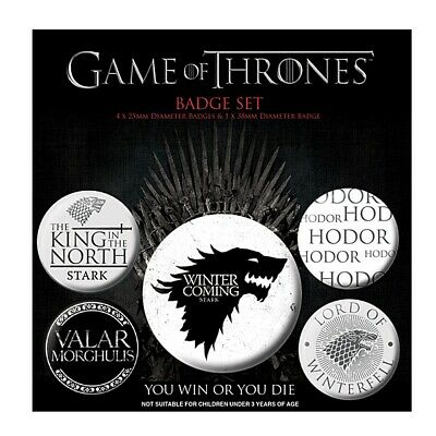 Genuine HBO Game of Thrones Winter is Coming 5 Piece Badge Set Button Badges