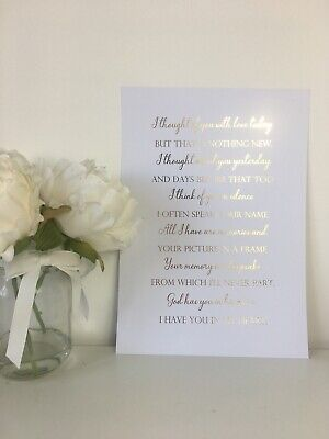 In Loving Memory Foil Print Dearly Lost One Sympathy Gift Loved Mum Dad Sister