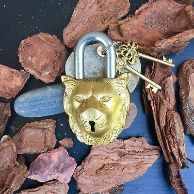 Huge Antique Lion Padlock Vintage Brass Rustic lock And Key Heavy Bronze Metal