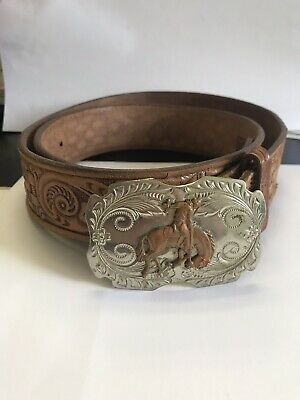 The LynTone Co. Nickel Silver Belt Buckle and Belt - Cowboy and Bucking Bronco