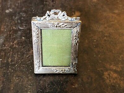 Miniature Antique French Chased Cast Gilt Brass Photo Frame With Ribbon Pediment