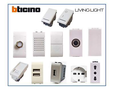 Bticino Living Light Compatibile Presa Schuko TV Pulsante Deviatore USB
