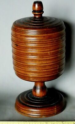 Rare Antique Treen Wassail cup lidded turned mahogany 17th 18th century goblet