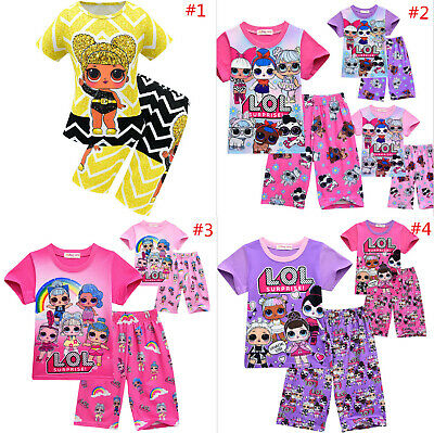 Cute Kids Lol Surprise Dolls Game Girls T Shirt &Short Summer Costume Outfits