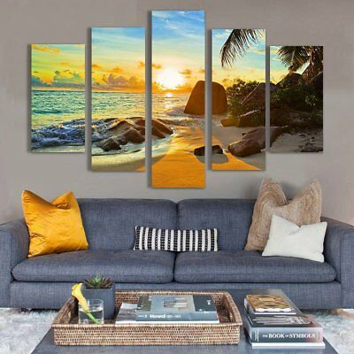 5Pcs Ocean Sunset Painting Canvas Print Unframed Picture Wall Art Decoration New