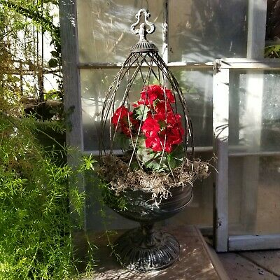 Rustic Decorative Metal Tabletop Dome Cage Urn Flower Pot Planter with Finial