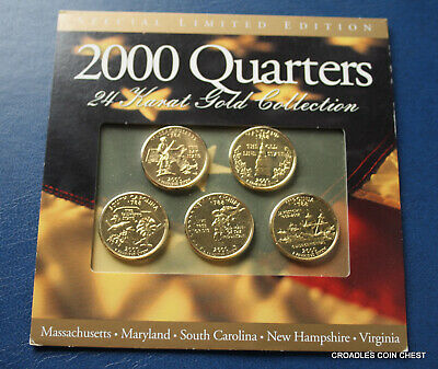 2000 Gold Plated Usa Quarters 5 Coin Set Limited Edition  High Cv Nice #Thw70