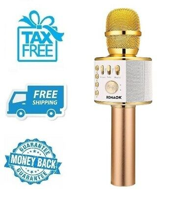 New Gold Wireless Bluetooth Karaoke Microphone Portable Home Party Music Mic