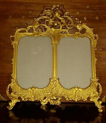 Victorian Style Ornate Gold Tone Metal Picture Photo Frame Double Standing Easel