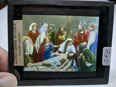 COLORED Glass Magic Lantern Slide BYO Cast on THE STAGE PASSION PLAY CHRIST #49