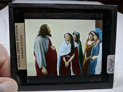 COLORED Glass Magic Lantern Slide BYQ Cast on THE STAGE PASSION PLAY CHRIST #51