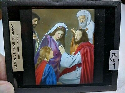 COLORED Glass Magic Lantern Slide BYT Cast on THE STAGE PASSION PLAY CHRIST #53