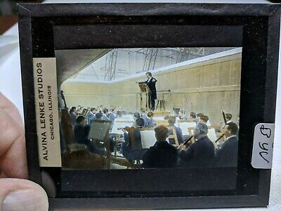 COLORED Glass Magic Lantern Slide BYV Cast on THE STAGE PASSION PLAY CHRIST #55