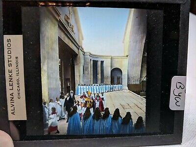 COLORED Glass Magic Lantern Slide BYW Cast on THE STAGE PASSION PLAY CHRIST #56