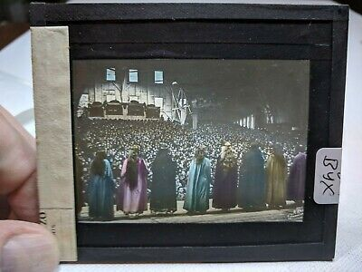COLORED Glass Magic Lantern Slide BYX Cast on THE STAGE PASSION PLAY CHRIST #57