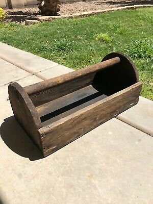 "Old Antique 20"" Wooden Carpenters Tool Box Primitive Carrying Tote Caddy"