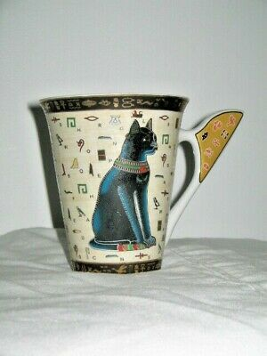 Egypt Black Cat Cairo Hieroglyph Pharaoh Dahshour Ceramic Mug Gold Trim NEW