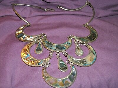 Bold Elaborate Vintage Mexico Necklace Abalone Silver Garland Mexican Jewelry