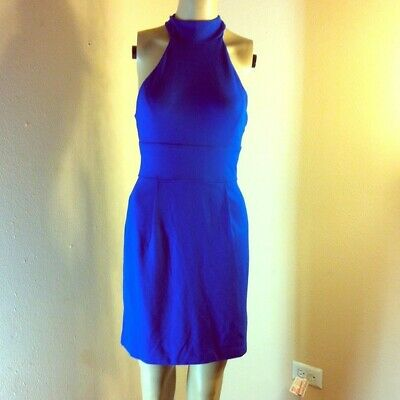 NWT French Connection Womens Electric Blue Halter Fantail Dress 6 Style 71Pl2
