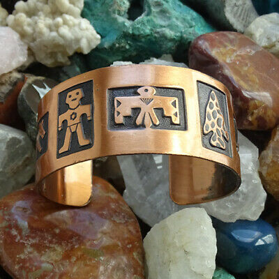 Vintage Bell Trading Post Native American Solid Copper Cuff Bracelet Thunderbird
