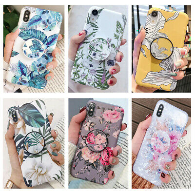 Flower Leaves Marble Case Cover Stand holder F iPhone XS 11 Pro MAX X XR 6S 7 8