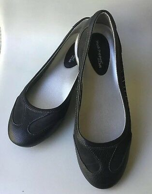 HUSH PUPPIES AIR Sz 9W Slip On Shoes Black Air Soles Leather Upper Women's NWOT