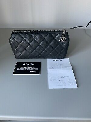 68a148a2b924 Chanel Caviar Leather Cosmetic Vanity Travel Pouch Case Bag Handbag Holder