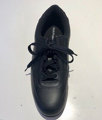 Hush Puppies Black Leather The Body Shoe Classic Walker Lace Up Shoes Womens 7.5
