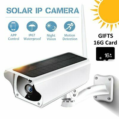 Outdoor Solar Waterproof Wireless WiFi 1080P HD Security IP Camera +16GB Card