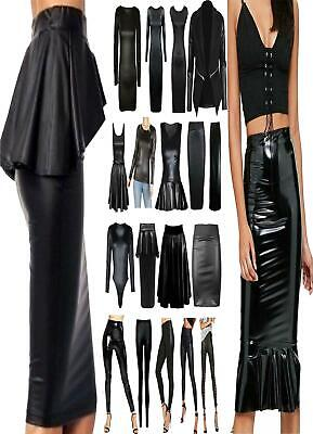 Women Wet Leather Look PU PVC Skirt Leggings Ladies Tunic Top Bodycon Dress Lot