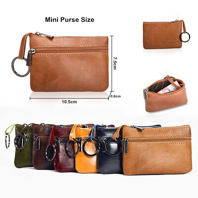 Women Men Leather Mini Coin Change Purse Card Key Wallet Zipper Small Soft Bag
