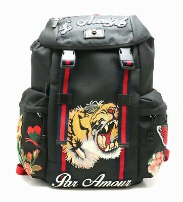 616e6beca33 Auth GUCCI Embroidered Tiger Backpack Rucksack Techno Canvas Multico  MO 21791301